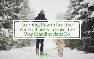 woman walking with dog winter beat winter blues