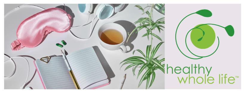 sleep mask notebook tea bed