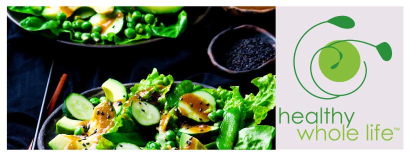 green salad with sesame soil dressing